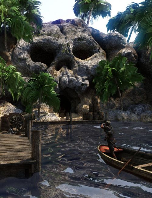 The Pirate's Cove Scene Kit with Props and Poses for Genesis 8