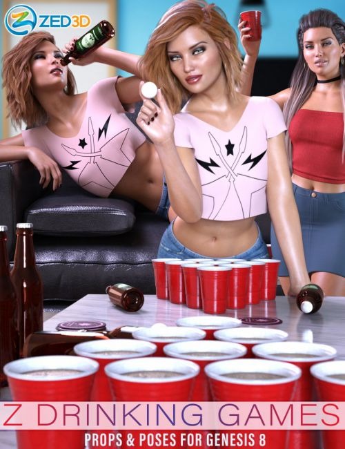 Z Drinking Games Props and Poses for Genesis 8