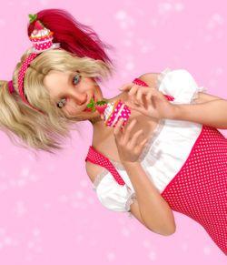 Strawberry Cupcake Jewelry for Genesis 8 Female