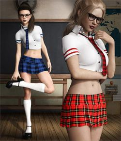dForce Naughty School Girl Outfit Set for Genesis 8 Females