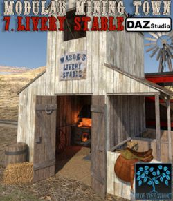 Modular Mining Town: 7. Livery Stable for Daz