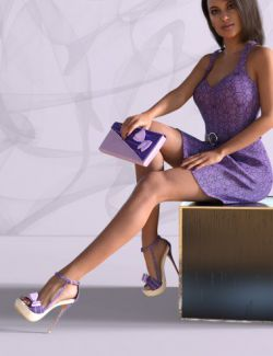 Juna High Heels and Clutch for Genesis 8 Female(s)