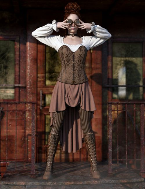 dForce Steampunk Outfit for Genesis 8 Female(s)