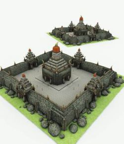 Orc Village Temple for Poser