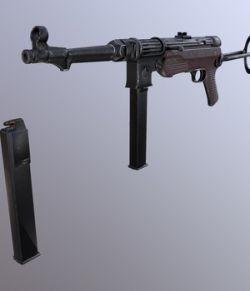 Submachine Gun mp 38 40 3d model -Extended License