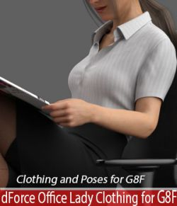 dForce Office Lady Clothing and poses for Genesis 8 Female