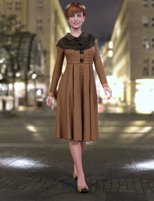 dForce Chilly Day Coat-Dress Outfit for Genesis 8 Female(s)