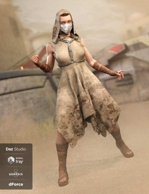 dForce CB Dystopian Dream Clothing Set for Genesis 8 Female(s)