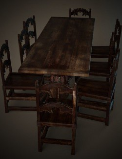 Jacobean English Dining Table Set