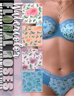 MR Watercolor Floral Roses Seamless Tiles