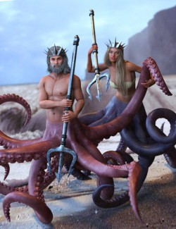 God Of The Sea Tentacles Props and Poses for Genesis 8