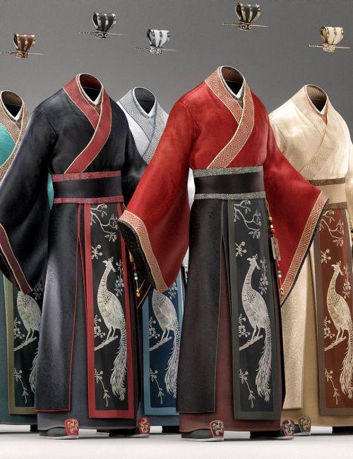 Peacock Hanfu Outfit Textures