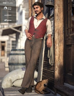 dForce Western Brawler Outfit for Genesis 8 Male(s)
