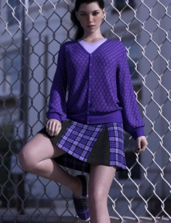 dForce Preppy Girl Outfit for Genesis 8 Females