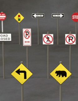 Road Signs Props for Daz Studio