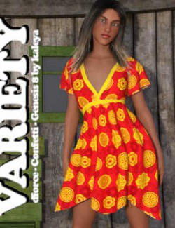 VARIETY- dForce- Confetti- Dress- G8F- Daz Studio