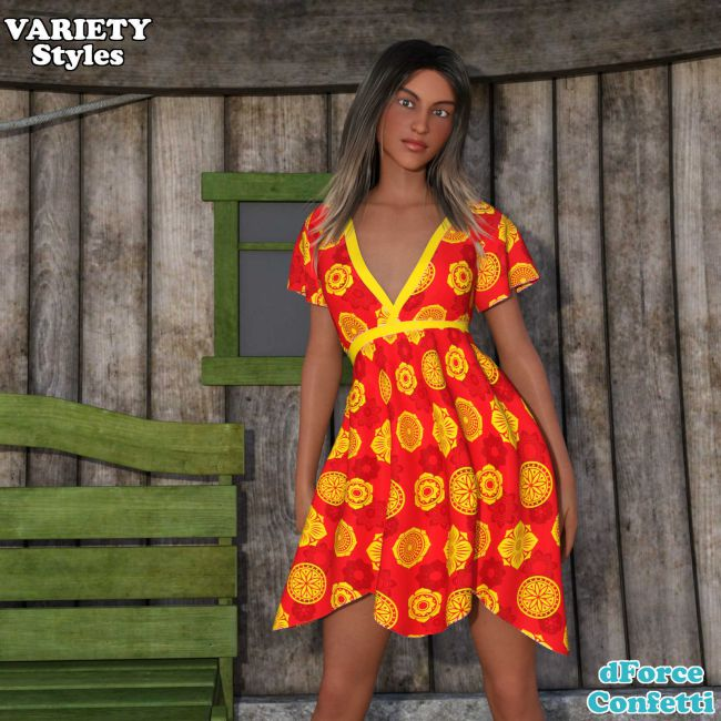 VARIETY - dForce - Confetti - Dress - G8F - Daz Studio