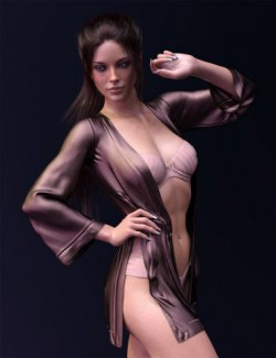 dForce X-Fashion Kimono Lingerie Set for Genesis 8 Females