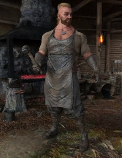 dForce Viking Blacksmith Outfit and Props for Genesis 8 Male