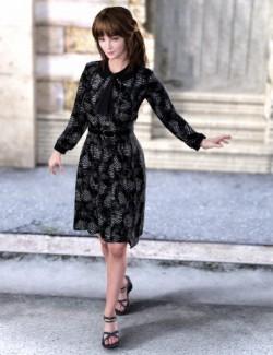 dForce Autumn Coat Dress Outfit for Genesis 8 Females