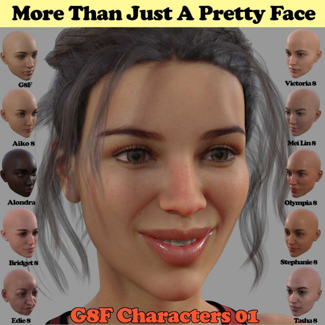 MORE THAN JUST A PRETTY FACE, Set 01 for Genesis 8 Female Characters