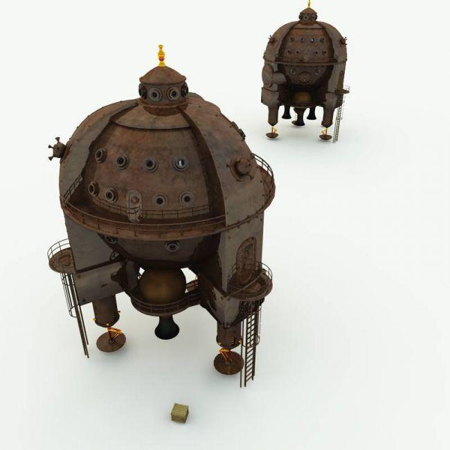 Clockwork Steampunk Spaceship for Poser