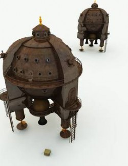 Clockwork Steampunk Spaceship for Poser