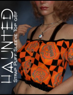 Haunted Strap Puff Sleeve Top G8F