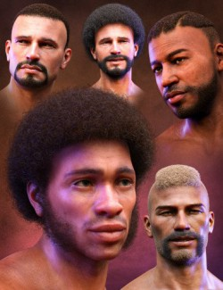 Curly Hair and Facial Hair for Genesis 8 Males