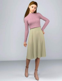 dForce HnC Pleated Skirt Outfit for Genesis 8 Females