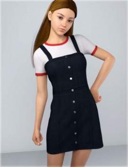dForce HnC Denim Mini Dress Outfit for Genesis 8 Females