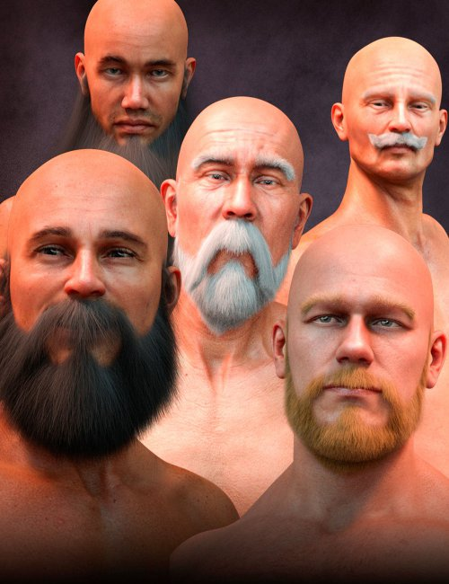 Long and Full Beards Set Hair for Genesis 8 Male