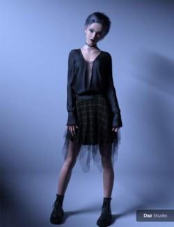 FE dForce Irregular Skirt Punk Outfit for Genesis 8 Females