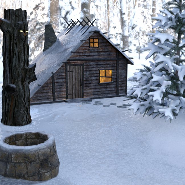 Witch's Winter House for DS and Poser