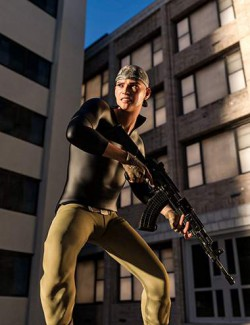 Black Snake Assault Rifle Pose for Genesis 8