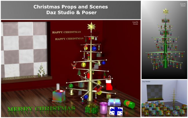 Countdown to Christmas Props for Poser & Daz