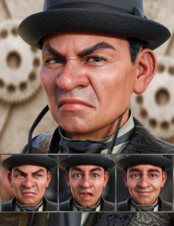 Steampunk- Expressions for Genesis 8 Male and Drutherson 8