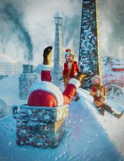 Victorian Rooftop Christmas Scene