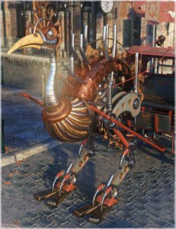Steampunk Ostrich and Cart Bundle