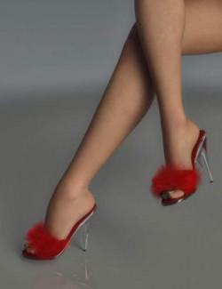 Mandie Satin Slippers for Genesis 8 Females