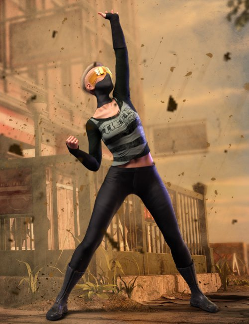 Cyber Survivor Outfit and Hair for Genesis 8 Female