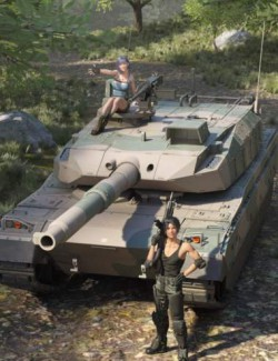 Type-10 Japanese Battle Tank and Forest Environment