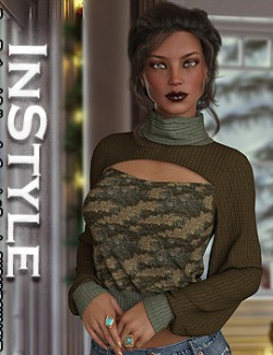 InStyle- dForce Turtleneck Pullover for Genesis 8 Females