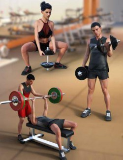 Weight Workout Props and Poses for Genesis 8