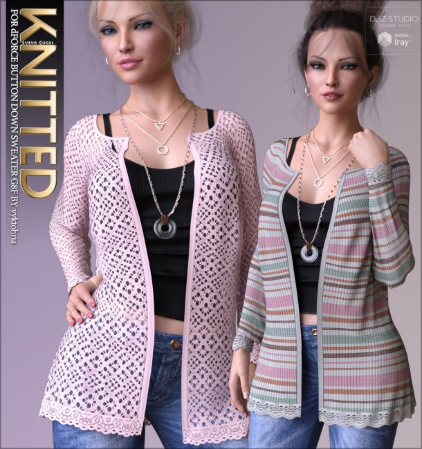 Knitted for dForce Button Down Sweater G8F