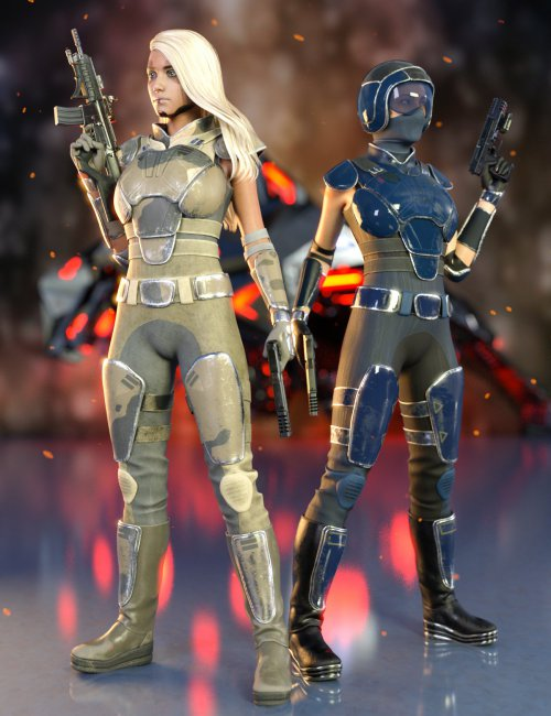 Sci-Fi Rebel Soldier Outfit for Genesis 8 Females