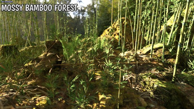 3D Scenery: Wild Mossy Bamboo Forest