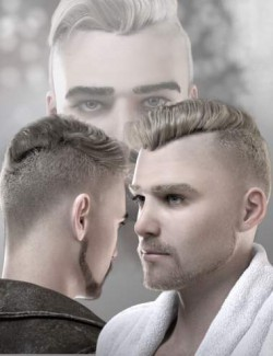 Beau Fade Flip Hair, Beard and Eyebrows for Genesis 8 and 8.1 Males