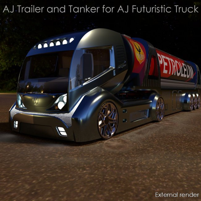 AJ Trailer and Tanker for Futuristic Truck