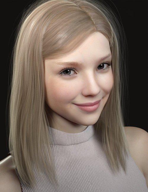 Nirv Medium Straight Hair for Genesis 8 Females